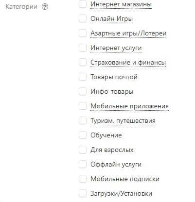 категории сайтов