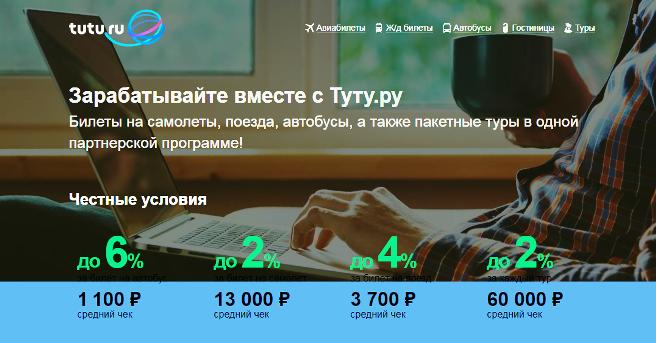 партнерская программа по продаже туров Tutu.ru
