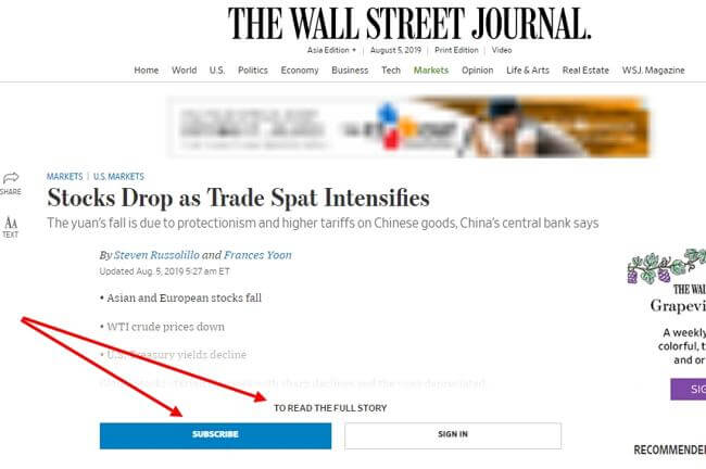 Сайт Wall Street Journal
