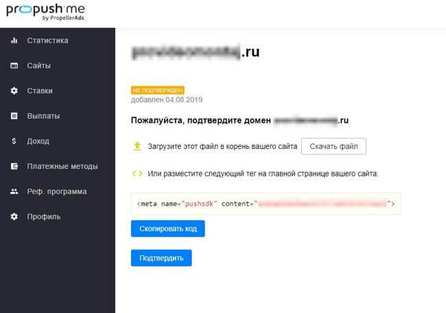 Добавление сайта в propush.me шаг 3
