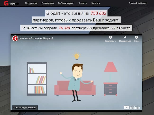 партнерская программа Glopart.ru